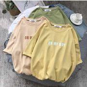 メンズ新作トップス カットソー 半袖Tシャツ ゆったり イエロー/グリーン/ベージュ3色
