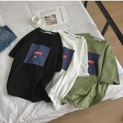 メンズ新作トップス カットソー 半袖Tシャツ ゆったり ホワイト/ブラック/グリーン3色