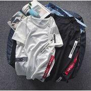 メンズ新作Tシャツ カットソー 半袖トップス ゆったり ホワイト/ブラック2色