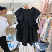 活気に満ちた少女 韓国ファッション 新 韓国 緩い ラウンドネック カレッジ風 百掛け シャツ