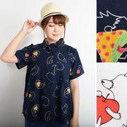 【即納】【Fillil/フィリル】2色展開ごきげんハリネズミ半袖シャツ/ブラウス5758-0319