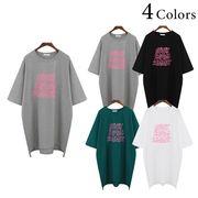 ネオンプリント ビッグサイズ テール ロングTシャツ 半袖 コットン カジュアル カットソー 夏