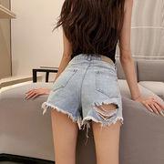 ファッション 穴のジーンズ ショートパンツ 女 ルース ハイウエスト 着やせ ホットパン