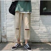 実物画像あり 新作 夏 無地  メンズ トレンド ロングパンツ ファッション 百掛けッグパンツ
