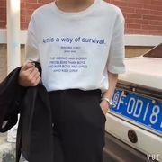 夏 新しいデザイン トップス 女 韓国風 学生 半袖Tシャツ ルース レジャー ネット
