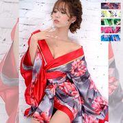 0708ツートンカラー花柄着物ドレス 和柄 衣装 ダンス よさこい 花魁 コスプレ キャバドレス