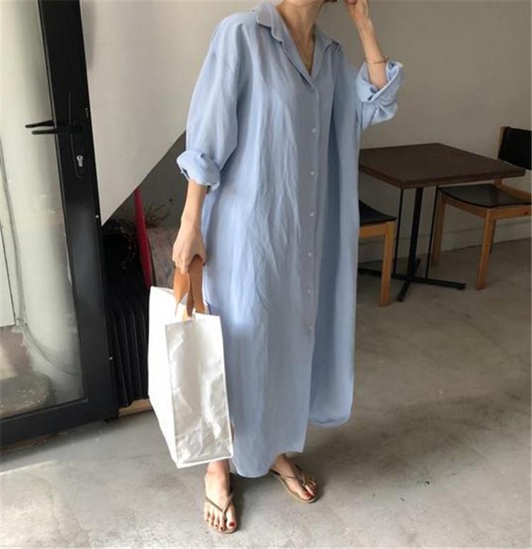 【2020春夏新作★全2色】韓国ファッション♪ワンピース  ゆったり シンプル※ 中・長セクション シャツ