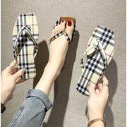 新作サンダル ゾウリ チェック柄 フラット 靴 オシャレ 韓国ファッション レディース