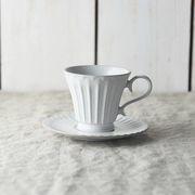 シュシュ・グレース コーヒーカップ&ソーサー ラスティックホワイト(段)[美濃焼]