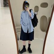 夏 韓国風 中長スタイル グリッドシャツ アウターウェア 女 ハイウエスト ワイドレッグ