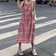 夏 新しいデザイン セット ファッション キャミソール 女 中長スタイル グリッドスカー