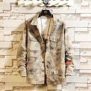 メンズ新作ジャケット コート 長袖トップス カジュアル ブラック/総柄/カーキ3色