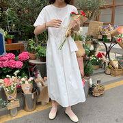 学生 スカート 女 夏 韓国風 新しいデザイン ルース 白い半袖 ワンピース 気質 着や