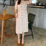 夏 新しいデザイン 韓国風 襟 ウエストマーク ルース 着やせ ワンピース 女の子の長い