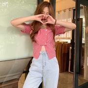 夏 韓国風 新しいデザイン 短いスタイル 露 着やせ 復古格子 シャツ 襟 シングル列ボ