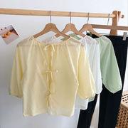 夏 新品 韓国風 小 心 機 後 背 リボン 包帯 シャツ 女 レジャー 単一色 丸襟