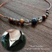 【日本製・完成品】珍しい天然石の革紐ネックレス【男女兼用】【ユニセックス】