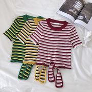 リボン 包帯 ニッティング ストライプTシャツ 女 夏 新しいデザイン 韓国風 フレッシ