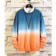 メンズ新作Tシャツ カットソー 長袖トップス カジュアル グレー/ブルー2色