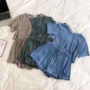 夏 新しいデザイン 韓国風 単一色 不規則な 半袖の上着 ゴム入りのウエスト 闊キュロッ