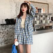 秋服 韓国風 新しいデザイン セット ファッション 長袖 格子シャツ 女 ハイウエスト