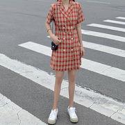 夏 新しいデザイン 韓国風 スーツの襟 ルース 着やせ 半袖ワンピース 中長スタイル ウ