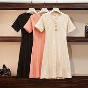 【大きいサイズL-5XL】ファッションワンピース♪ブラック/アンズ/ピンク3色展開◆