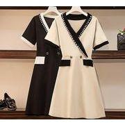 【大きいサイズL-4XL】ファッションワンピース♪アンズ/ブラック2色展開◆