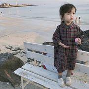 秋 子供 ワンピース 女の子 シンプル ファッション チェック 格子 カジュアル 長袖
