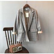 YUNOHAMI  コート アウター  チェック柄 長袖 スーツ カーディガン 韓国ファッション ゆったり レトロ