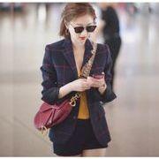 YUNOHAMI スター同款 コート アウター チェック柄 長袖 小さなスーツ カジュアル 女性服  何とでも合う
