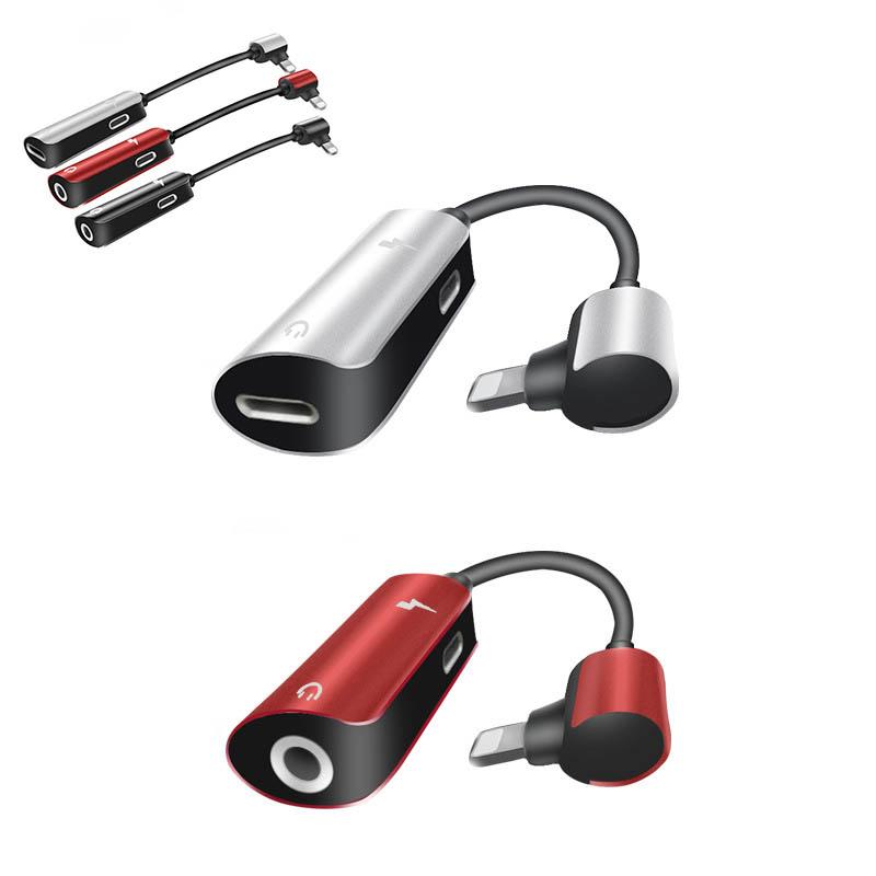 【一部即納】2in1アダプタ 3.5mmイヤホンジャック ライトニング音楽 充電コネクタlightning 2タイプ 3色