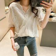 ★最強の新作★韓国ファッション可愛   大きいサイズ カジュアル Vネック半袖 Tシャツ ブラウス