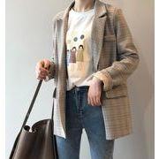 YUNOHAMI テーラードジャケット チェック柄 オフィス カジュアル レディース トップス 通勤 オシャレ 女性