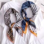 スカーフ  日韓 レオパード レディース 千鳥格子 UVカット スクエア 韓国ファッション