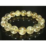 お買い得 現品一点物 ゴールドルチル ブレスレット 金針水晶数珠 14ミリ PKR2 金運