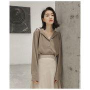 女性美up 韓国ファッション 感バッチリ誘惑可愛い ラペル 気質OL スタイル 長袖 シャツ