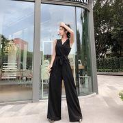 全4色 韓国ファッション可愛 エレガント ノースリーブVネックスレンダーライン オールインワン