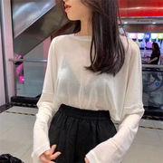 韓国ファッション  レデイーススポーツ トップス ラウンドネック ファッション ゆったりする 上着