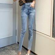 女性服 新しいデザイン 韓国風 ハイウエスト 女性のジーンズ ストレッチ 着やせ タイト