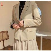 YUNOHAMI全2色 コートアウター韓国ファッション 新しいデザイン 長袖 側ボタン留め 裾交叉 スーツ 個性