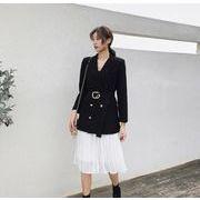 YUNOHAMI韓国風セットアップ 長袖 ダブルボタン スーツ リボン付き+ ミディアム プリーツスカート 気質