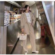 YUNOHAMI韓国風 セットアップスーツ 長袖 スーツ+ スラックス ゆったり カジュアル おしゃれ 秋冬即納