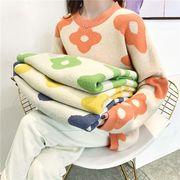 秋4色★最強の新作ファッション可愛 合わせやすい カジュアル プリントクルーネック長袖 カットソー