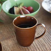 小田陶器 櫛目(kushime) 8.5cmマグカップ アメ釉[美濃焼]