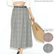 【2019秋物新作】ベージュミックスチェック 細ベルト付きロングスカート