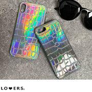 オーロラクロコスマホケース ma 【即納】小物 スマホケース クロコ オーロラ レインボー iPhone