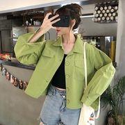 秋 新しいデザイン 韓国風 長袖シャツ 女子学生 何でも似合う ラペル ジャケット ルー