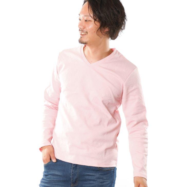 【2019秋冬新作】 長袖Tシャツ メンズ Vネック ジャガード ボタニカル柄 花柄 ロンT カットソー