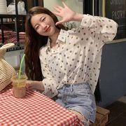 秋 新しいデザイン 韓国風 ポルカドット シャツ 学生 何でも似合う 長袖シャツ 女 気